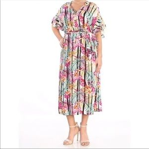 Nine West Tropical Print Midi Belted Dress Size 8